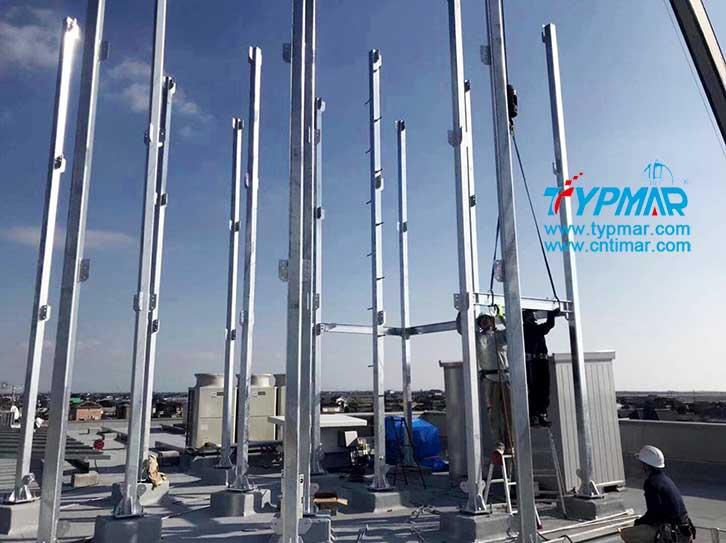 日本屋顶磁悬浮风力发电机组塔杆安装